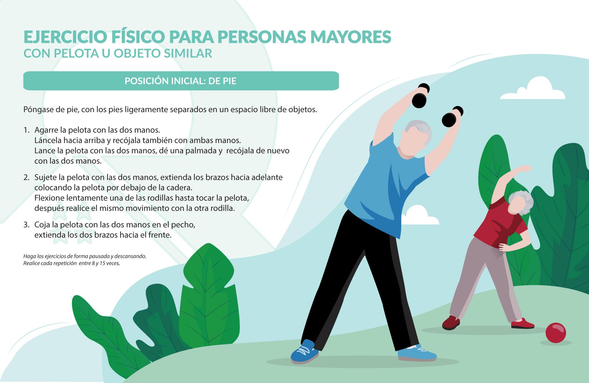 Infografía ejercicio físico para mayores con pelota